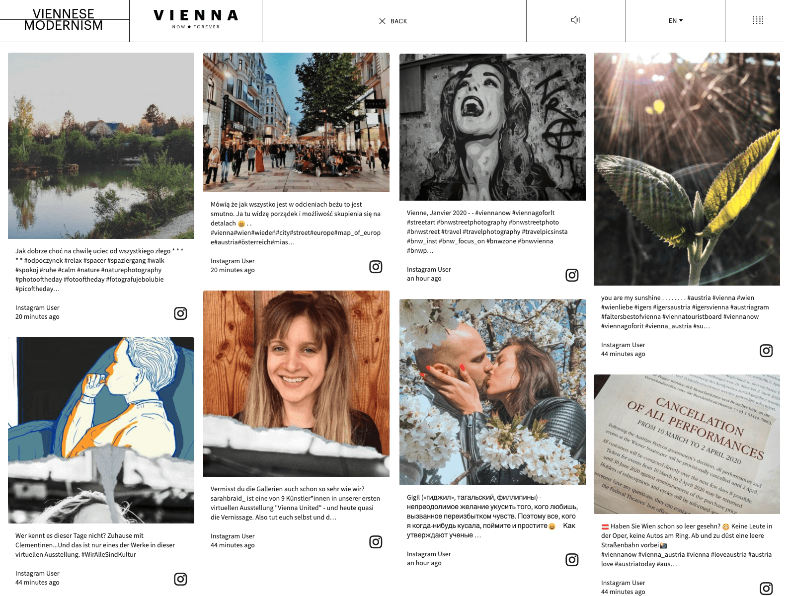 "Screenshot of the ""Viennese Modernism"" microsite with Instagram and Twitter posts shared by citizens and tourists."