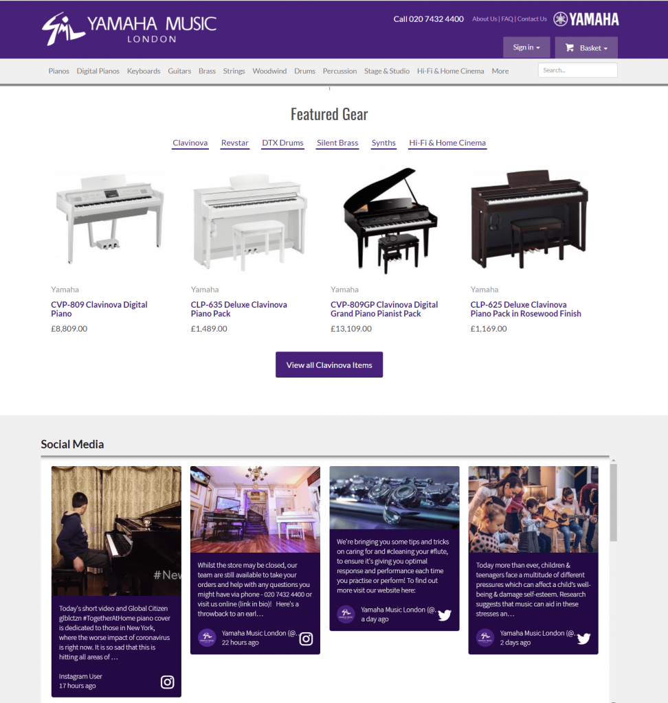 Screenshot of the Yamaha Music London website with the social wall embedded. The social wall is kept in the same purple brand colour as the rest of the website and blends in seamlessly.