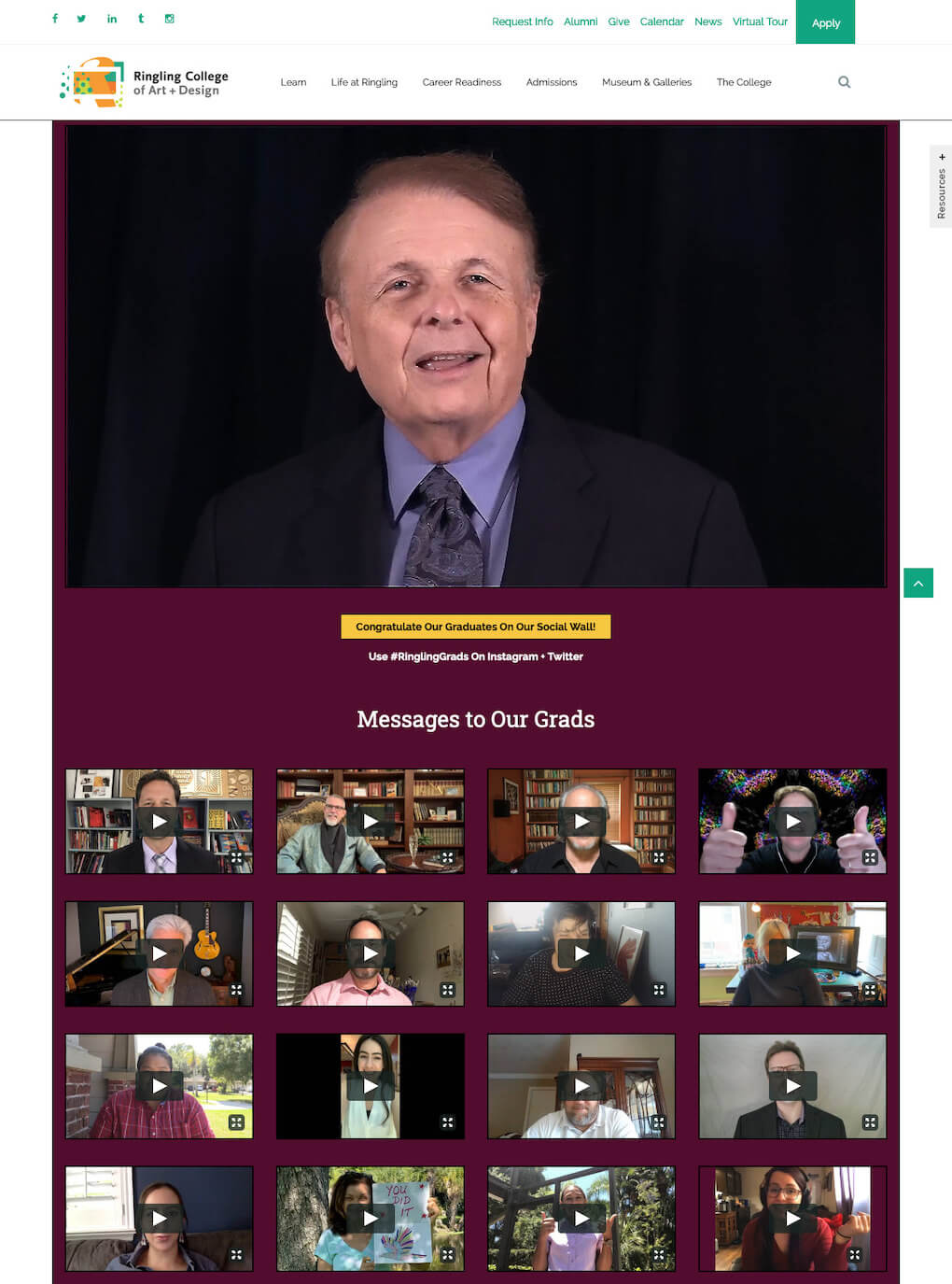 Top section of the Ringling website. Right at the top, there's a video message from the Dean as well as thumbnails for more video messages to the graduates, sent in by staff, alumni, etc