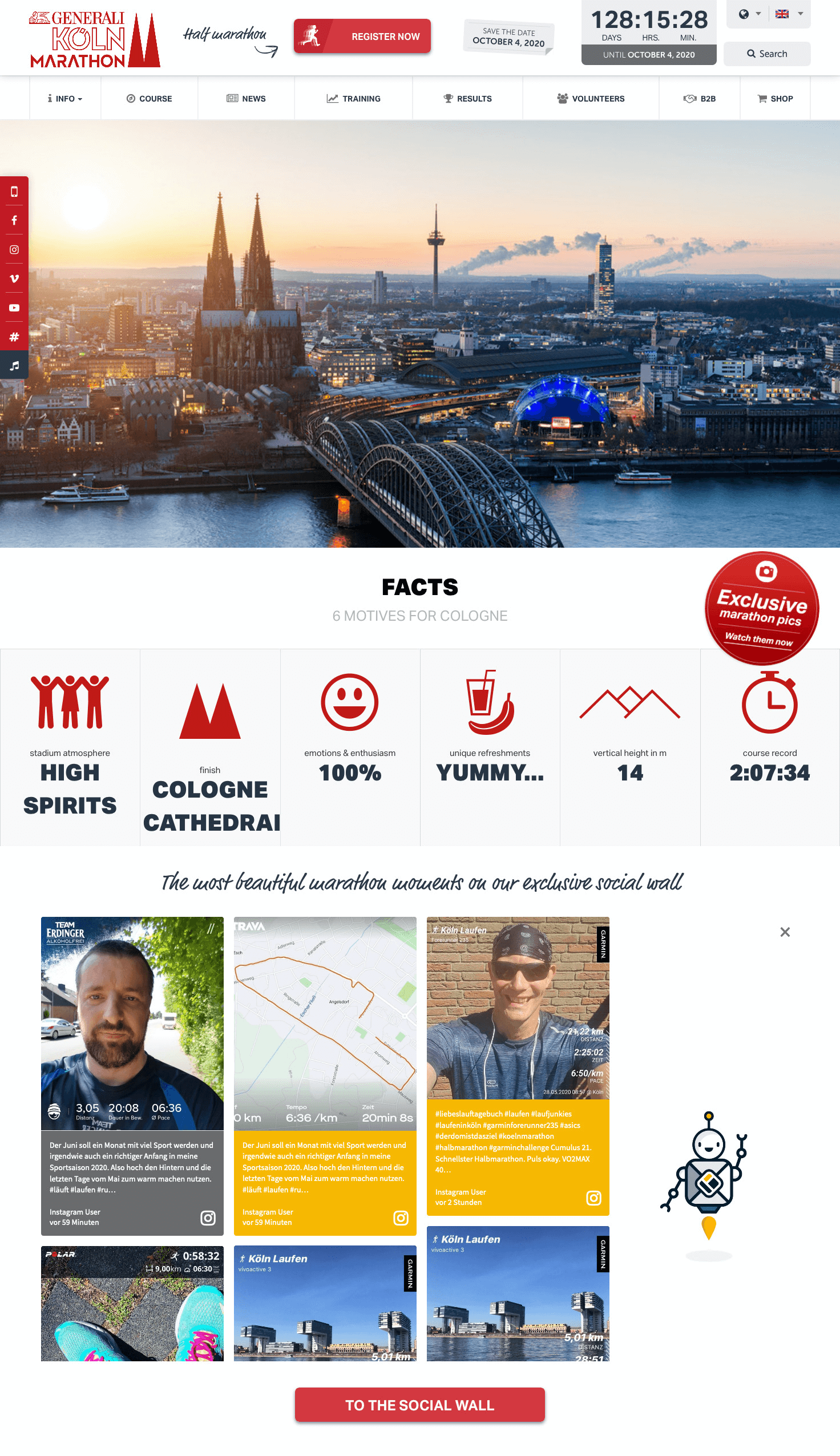 """Screenshot of the Cologne Marathon home page, displaying a view of Cologne in the header, various facts underneath it, and the social wall embedded at the bottom under the heading """"The most beautiful marathon moments on our exclusive social wall."""""""