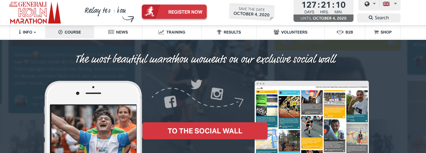 """Screenshot of the Cologne Marathon website header which is a promotion for the social media wall. On the left, see the top third of a smartphone screen showing the photo of a runner with arms spread. On the right, we see a small representation of the social wall. The headline is """"The most beautiful marathon moments on our exclusive social wall"""" and a red banner reads """"To the social wall"""""""
