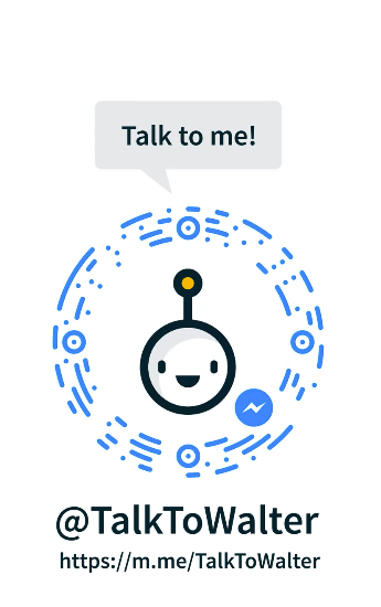 """The head of Walls.io mascot robot Walter, smiling, is shown with the Facebook Messenger logo. Underneath, it reads """"@TalkToWalter https://m.me/TalkToWalter"""""""