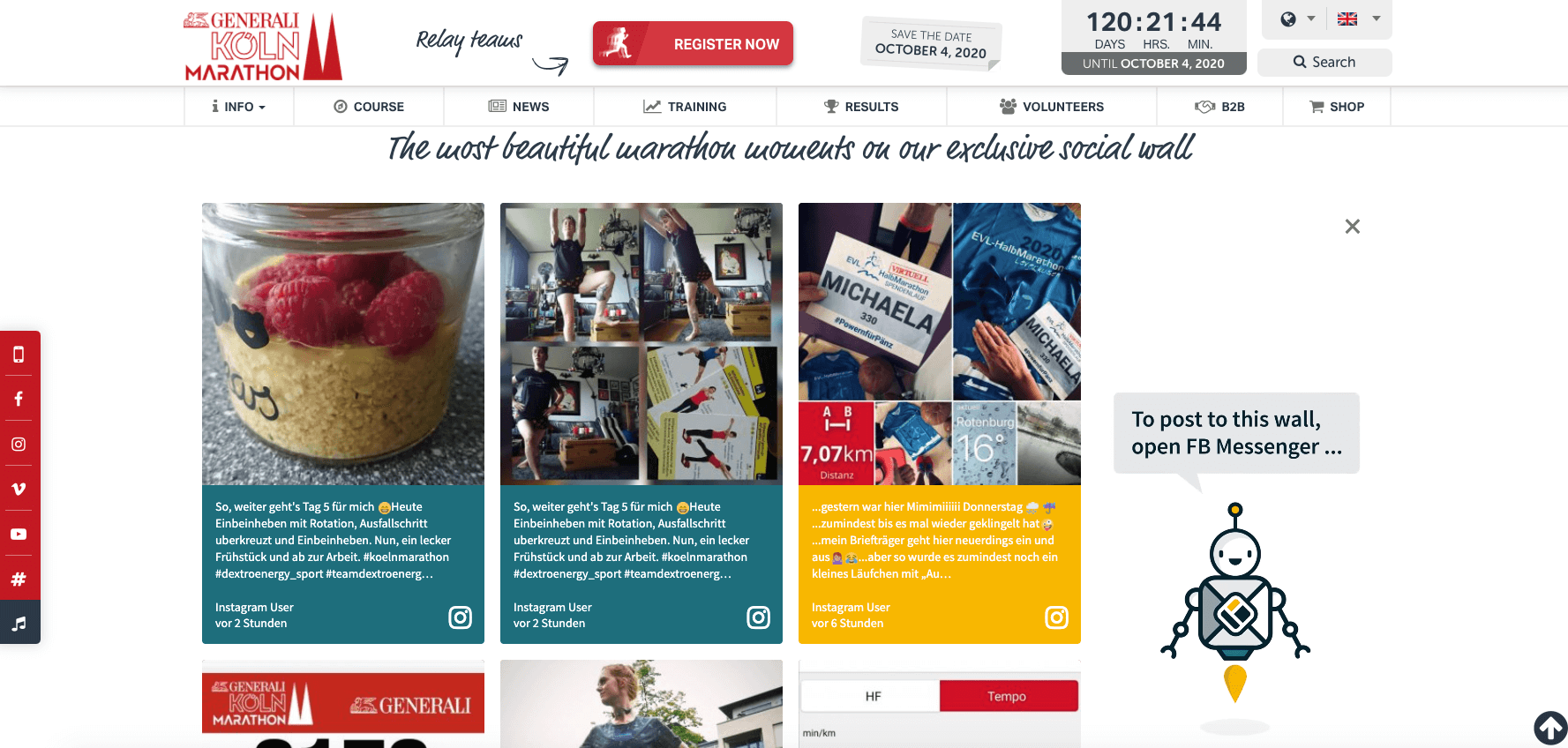 Screenshot of the Cologne Marathon website with the social wall embedded. Next to social media posts, the social wall also shows an image of the Walls.io mascot promoting the feature that allows people to post to a social wall using Facebook Messenger.