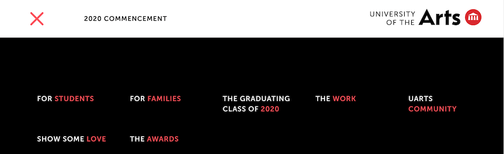 Screenshot of the top bit of the University of the Arts website, showing the menu. The menu items are: For students For families The graduating class of 2020 The work UArts Community Show some love The awards