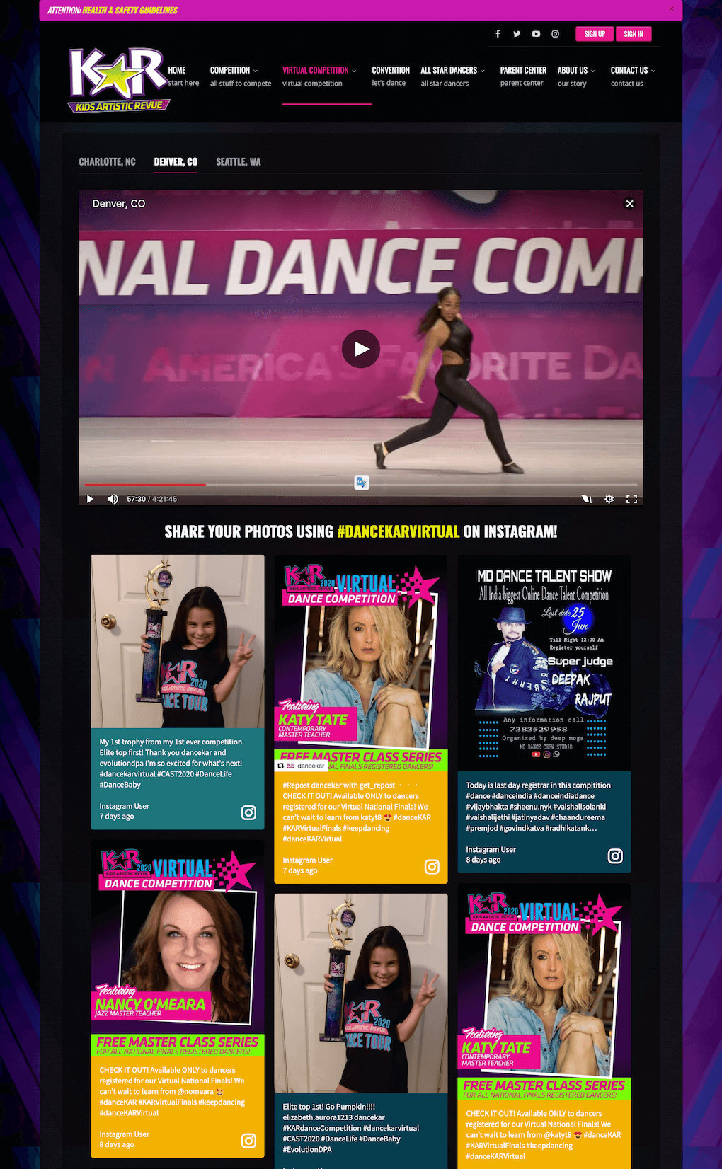 Screenshot of the DanceKAR.com website with a livestream and social media wall embedded. The video is showing a young person dancing. On the social wall, participants are sharing photos of their awards while DanceKAR accounts are promoting dance classes open to participants.