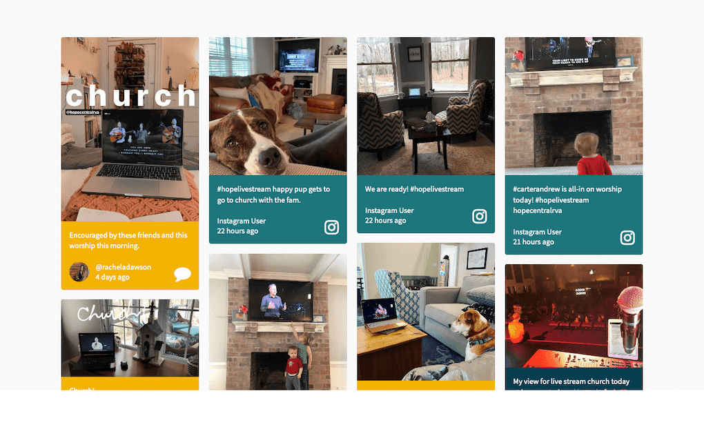 Screenshot of a social wall, displaying posts by church members that show their setups for watching the live-stream of the religious service from home. Posts also show dogs and kids looking at the screens. Posts are tagged with #HopeLiveStream.