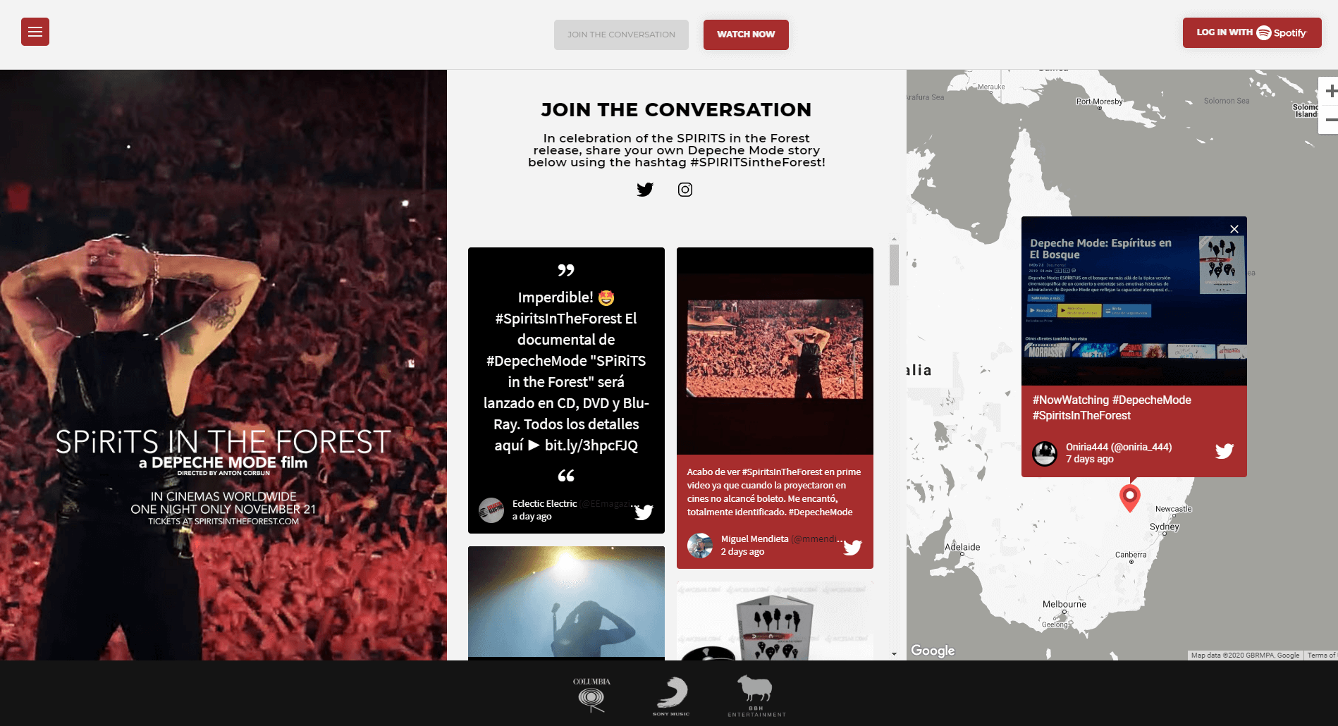 """The Spirits in the Forest website, split in three columns. On the left, a photo showing one of the band members from behind as he's standing facing the crowd at a concert. A text overlay advertises the movie launch. In the middle, the social media wall is embedded under the heading """"JOIN THE CONVERSATION"""", encouraging fans to post on Twitter and Instagram using the #SPIRITSintheForest hashtag. In the right column, the social wall is embedded again but with the map theme, showing content being posted from Australia."""