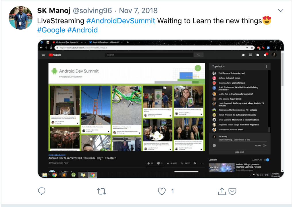 "Twitter post by @solving96 displaying a screenshot of the Android Dev Summit live-stream on YouTube, which is currently showing the social media wall. The tweet reads: ""LiveStreaming #AndroidDevSummit Waiting to Learn the new things😍 #Google #Android"""