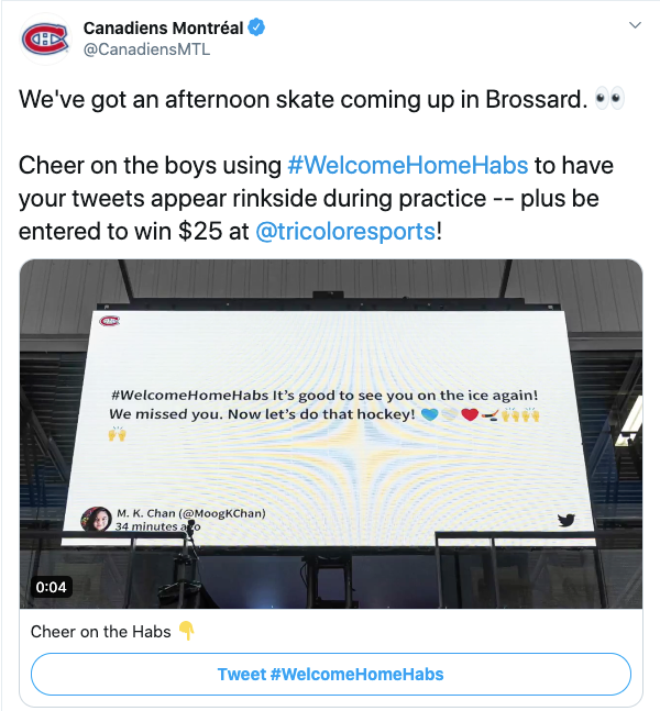 Walls.io Billboard theme social wall used on a stadium by the NHL team Montréal Canadiens.