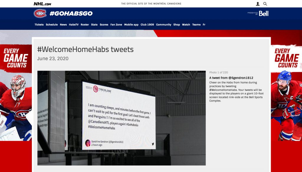 Walls.io Billboard theme social wall used on a stadium by the NHL team Montréal Canadiens