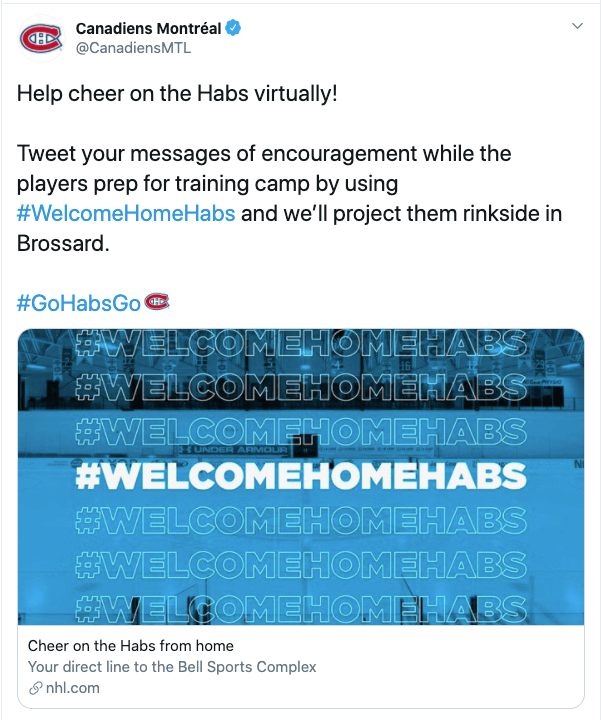 Canadiens Montreal NHL Tweet