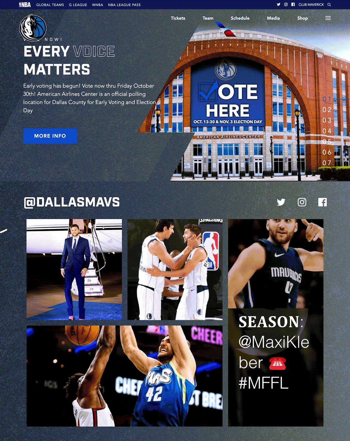 Dallas Mavs NBA Team Social Media Hub on website
