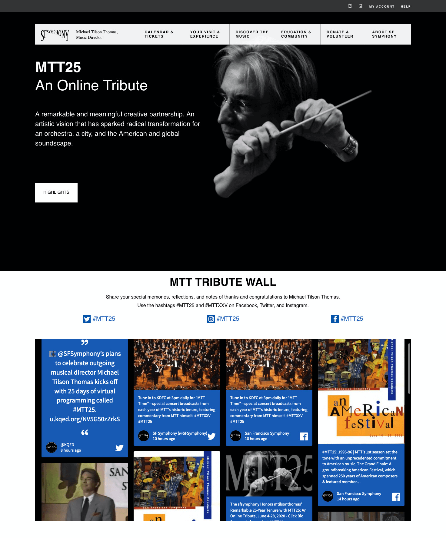 "Screenshot of the San Francisco Symphony landing page set up for the tribute to Michael Tilson Thomas. The page includes an embedded live hashtag feed as a ""tribute wall""."