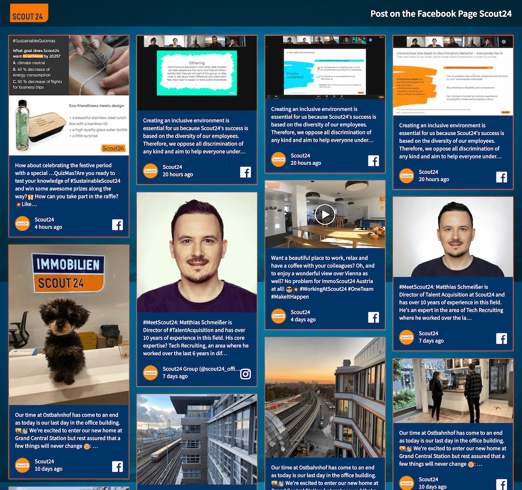 Screenshot of the Scout24 careers social wall.