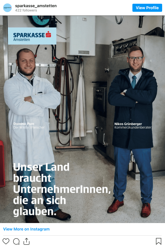 Screenshot of an instagram post from Erste Bank with two men posing with arms crossed.