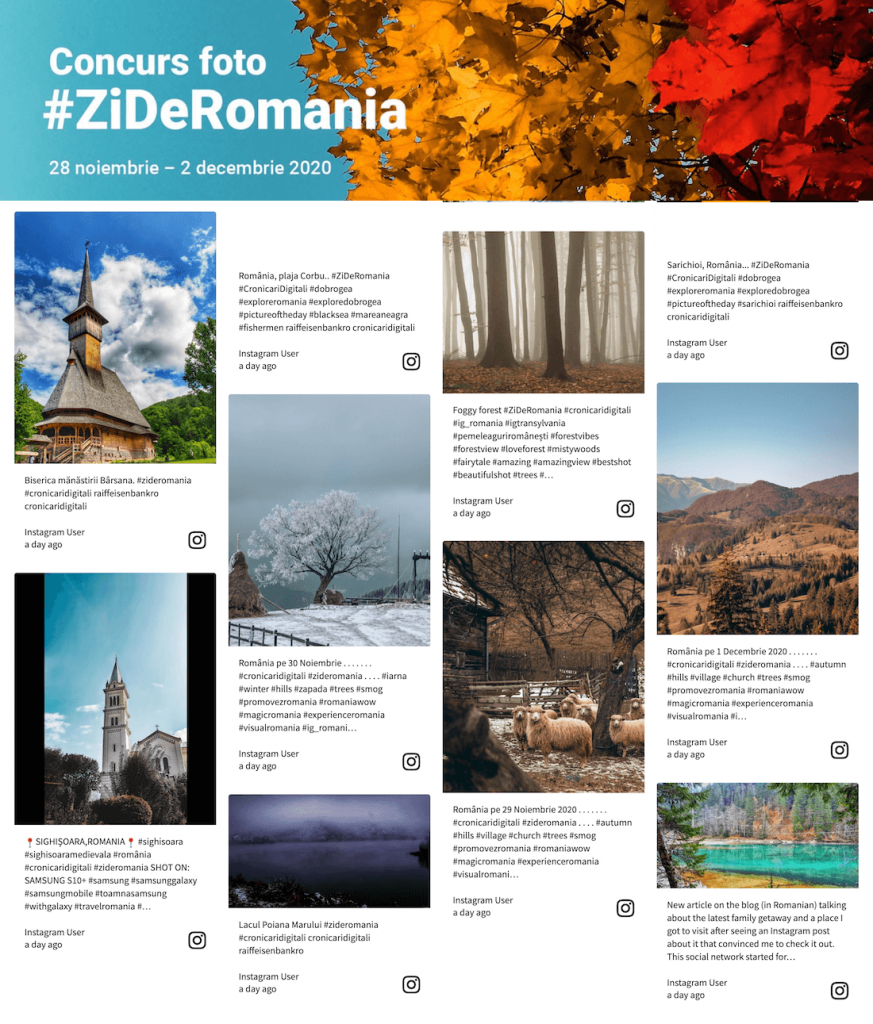 Instagram social media embed on the landing page for the photo Hashtag Contest organised by Raiffeisen Bank România.