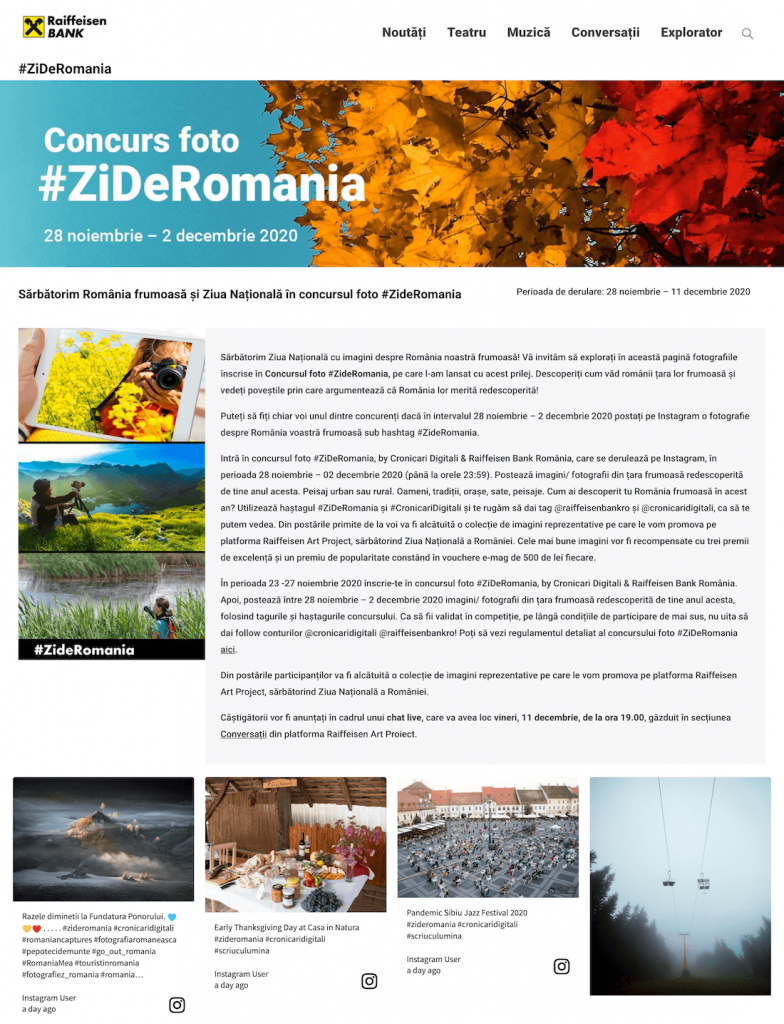 Landing page for the photo Hashtag Contest organised by Raiffeisen Bank România.