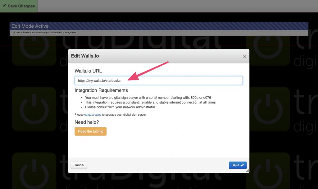 creating social media screens with the truDigital digital signage app and Walls.io by adding a social wall URL