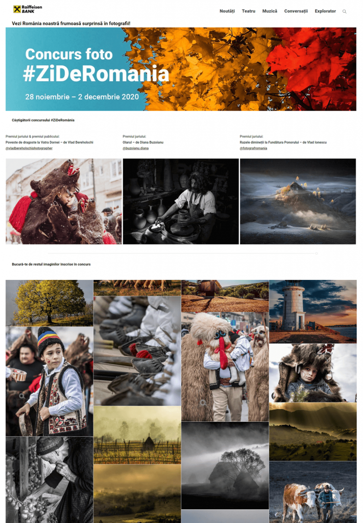 Landing page for the photo Hashtag Contest organised by Raiffeisen Bank România featuring the winners as well as other photo submissions.