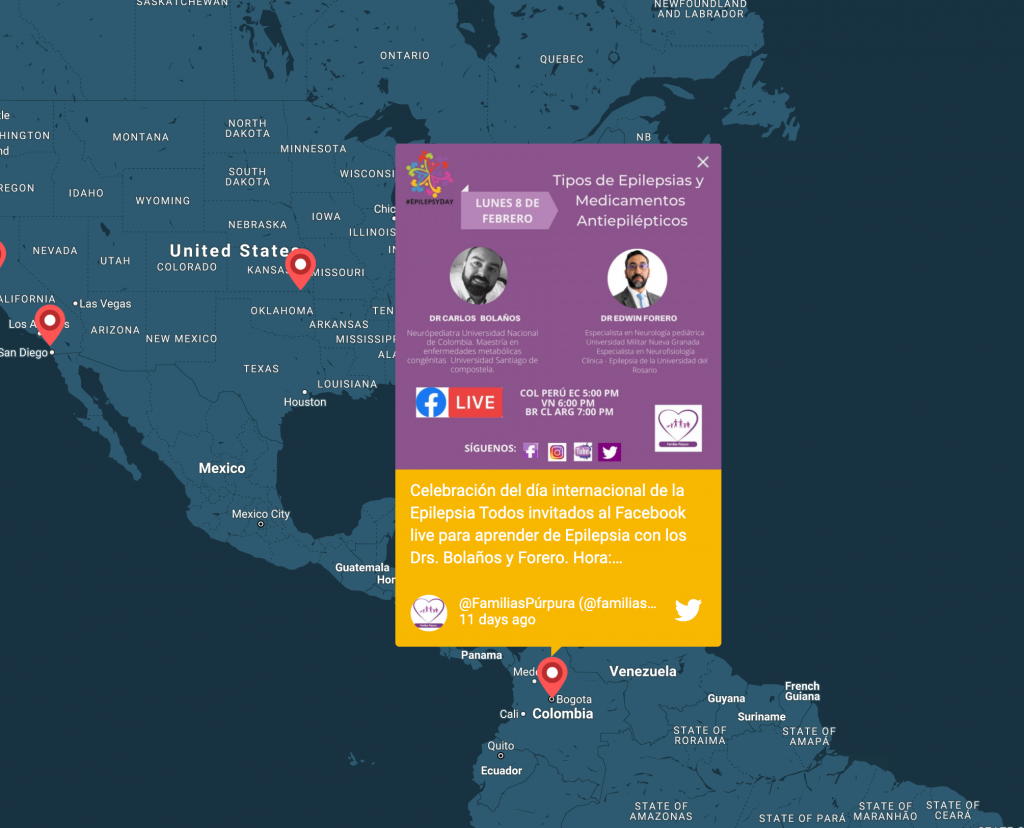 "Post in an interactive map promoting a Facebook live event titled ""Epilepsy types and Anti-Epileptic Medicines"" from Bogota, Colombia."