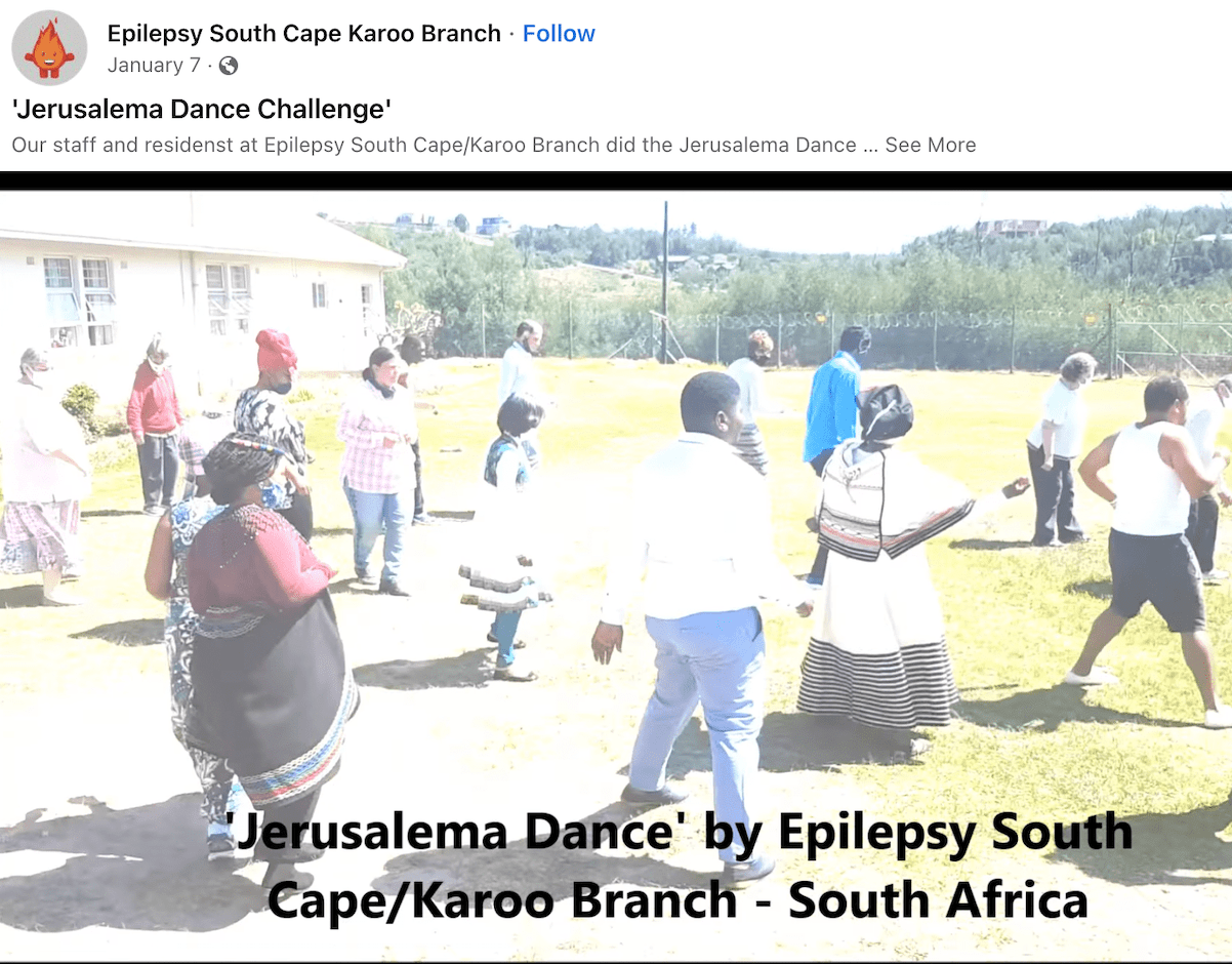 Screenshot of a Facebook video supporting International Epilepsy Day. In the video: staff and residents from Epilepsy South Cape/Karoo Branch doing the Jerusalem Dance Challenge.
