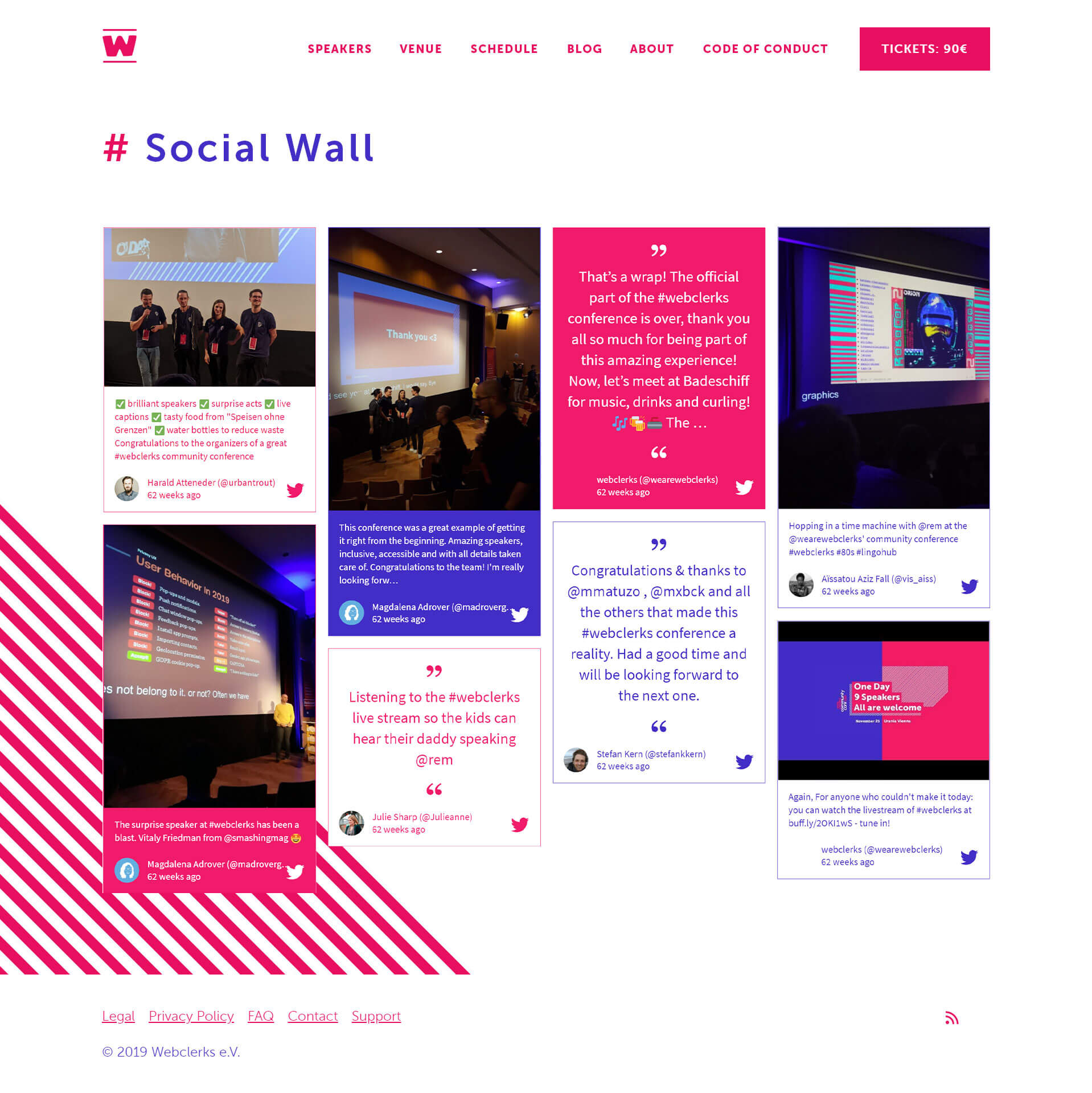 A screenshot of the webclerks social wall embedded on the webclerks website