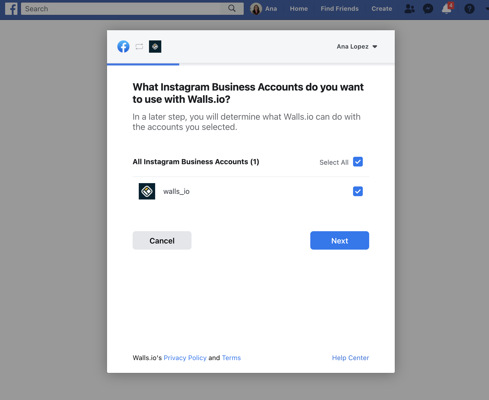 Facebook pop-up asking for permission to access Instagram Business account.