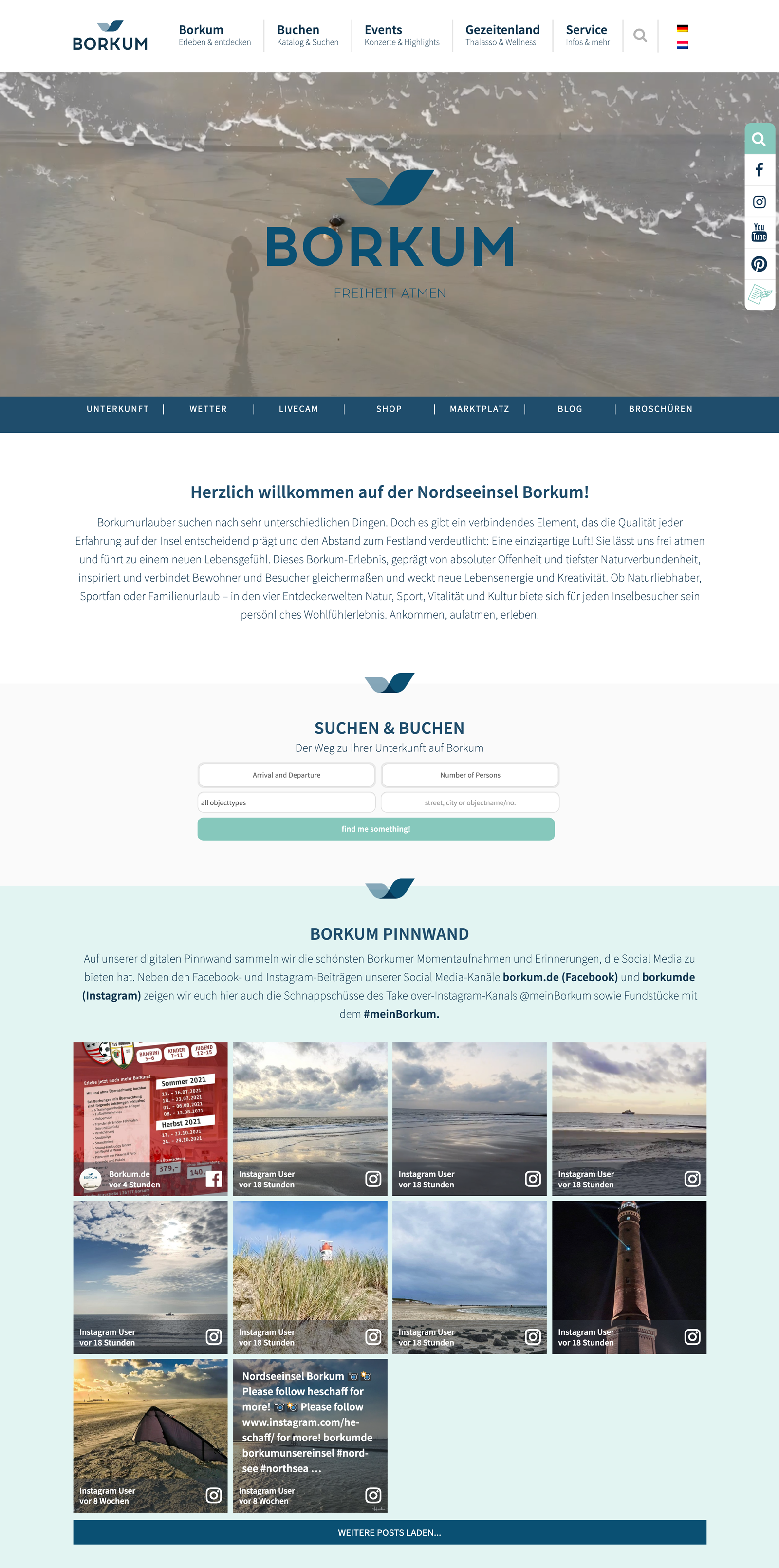 The screenshot shows the social media wall embedded on the borkum.de website.