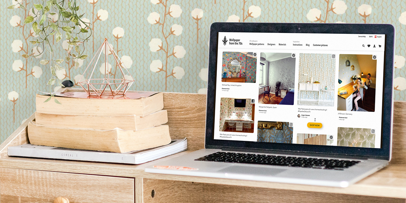 user-generated content for eCommerce used on the Wallpaper from the 70s website. A laptop with the website open and a wallpaper in the background.