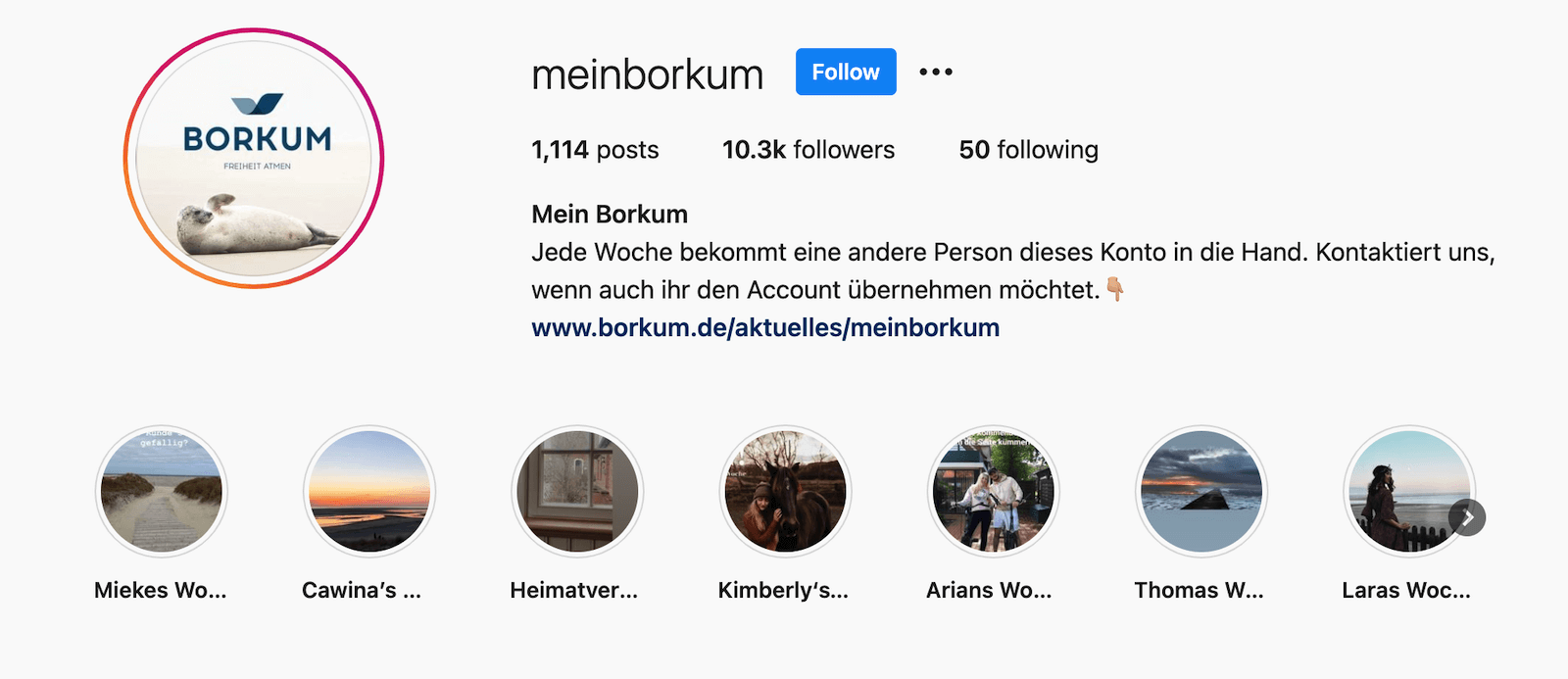 The screenshot shows the Instagram header for the takeover account MeinBorkum. It features an explanation of how the takeovers work and where to apply for one. The story highlights are segmented, showing one for each of the recent takeover weeks.
