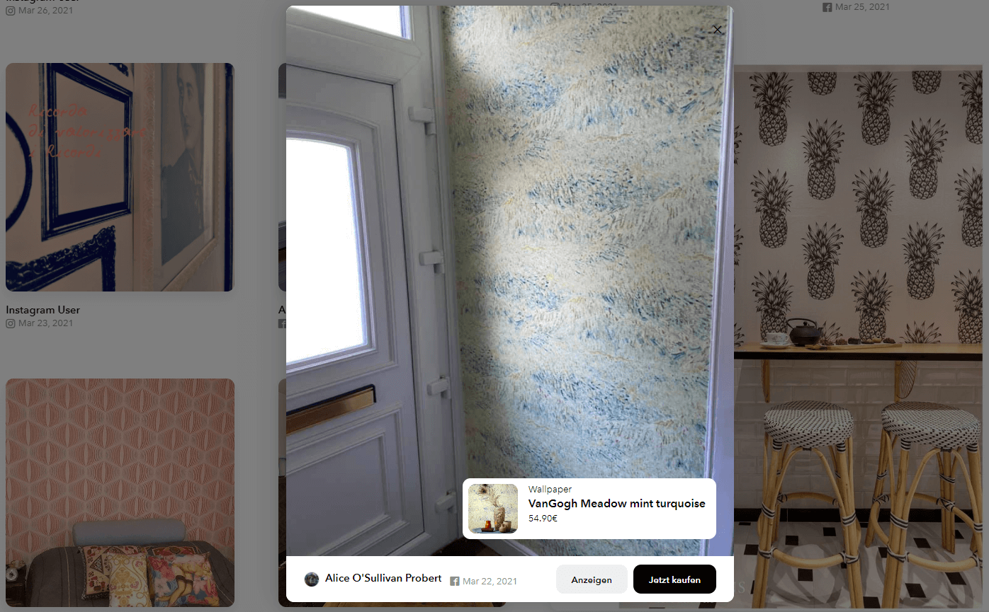 """An example of a shoppable Facebook post with the call-to-action """"Jetzt kaufen"""" on the Wallpaper from the 70s website and a screenshot of the product page it links to showing a wallpaper called VanGogh Meadow mint turquoise."""