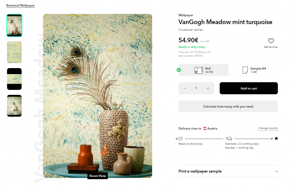 Wallpaper from the 70s a screenshot of the product page showing a wallpaper called VanGogh Meadow mint turquoise.