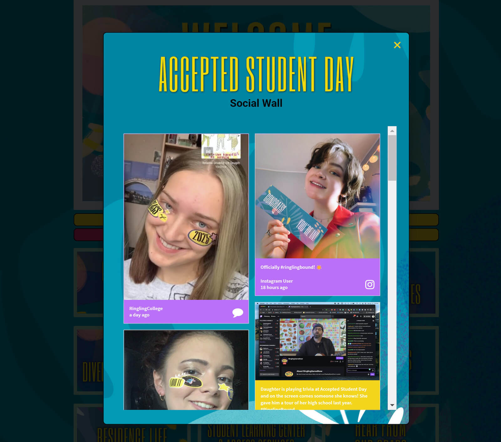Screenshot of Ringling's Accepted Students Day microsite showing a popup of the embedded social media wall. The posts on the wall show happy people's faces with Ringling's social media stickers added and showing off their acceptance packs.