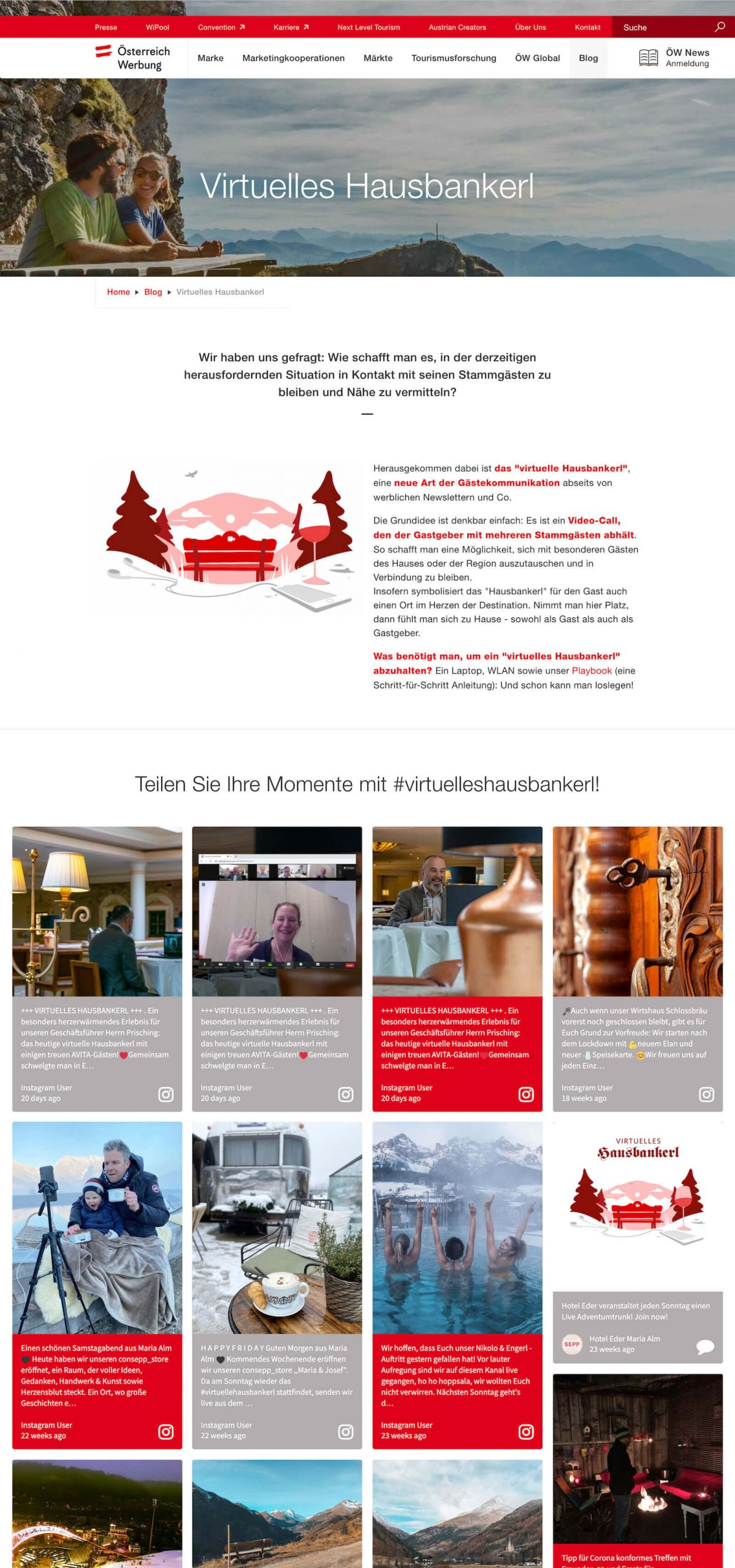 Screenshot of the Virtuelles Hausbankerl blog post showing basic information about the project and the embedded social wall.