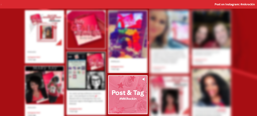 Screenshot of a virtual event's social wall displaying selfies from attendees, and a sponsored post promoting the use of their hashtag #MKRockin.