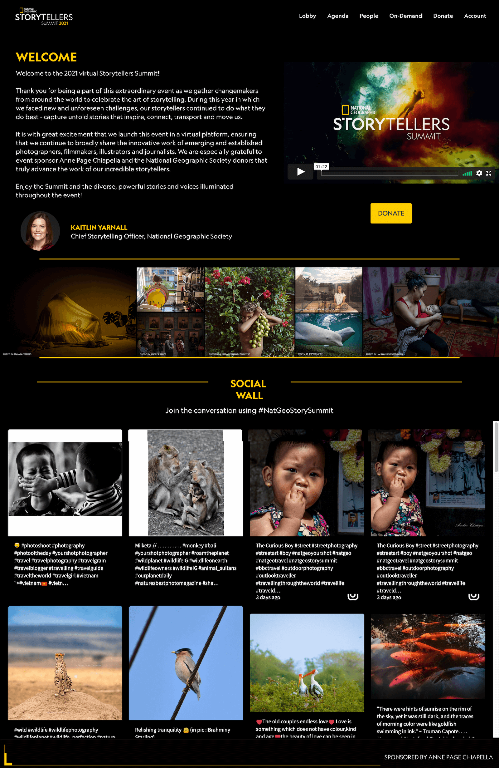 Screenshot of the National Geographic Storytellers Summit 2021 event website with an embed of the social wall. (Social wall beispiele)