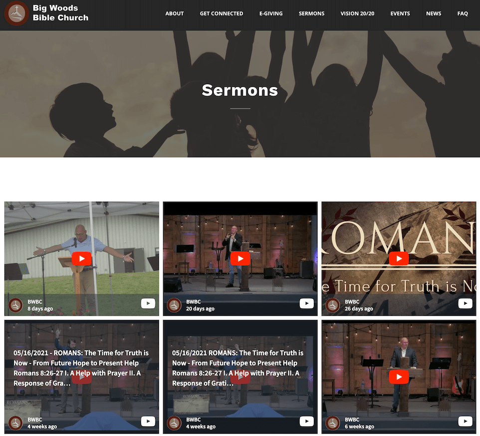 Screenshot of The YouTube wall from BWBC displaying six recordings of their sermons.