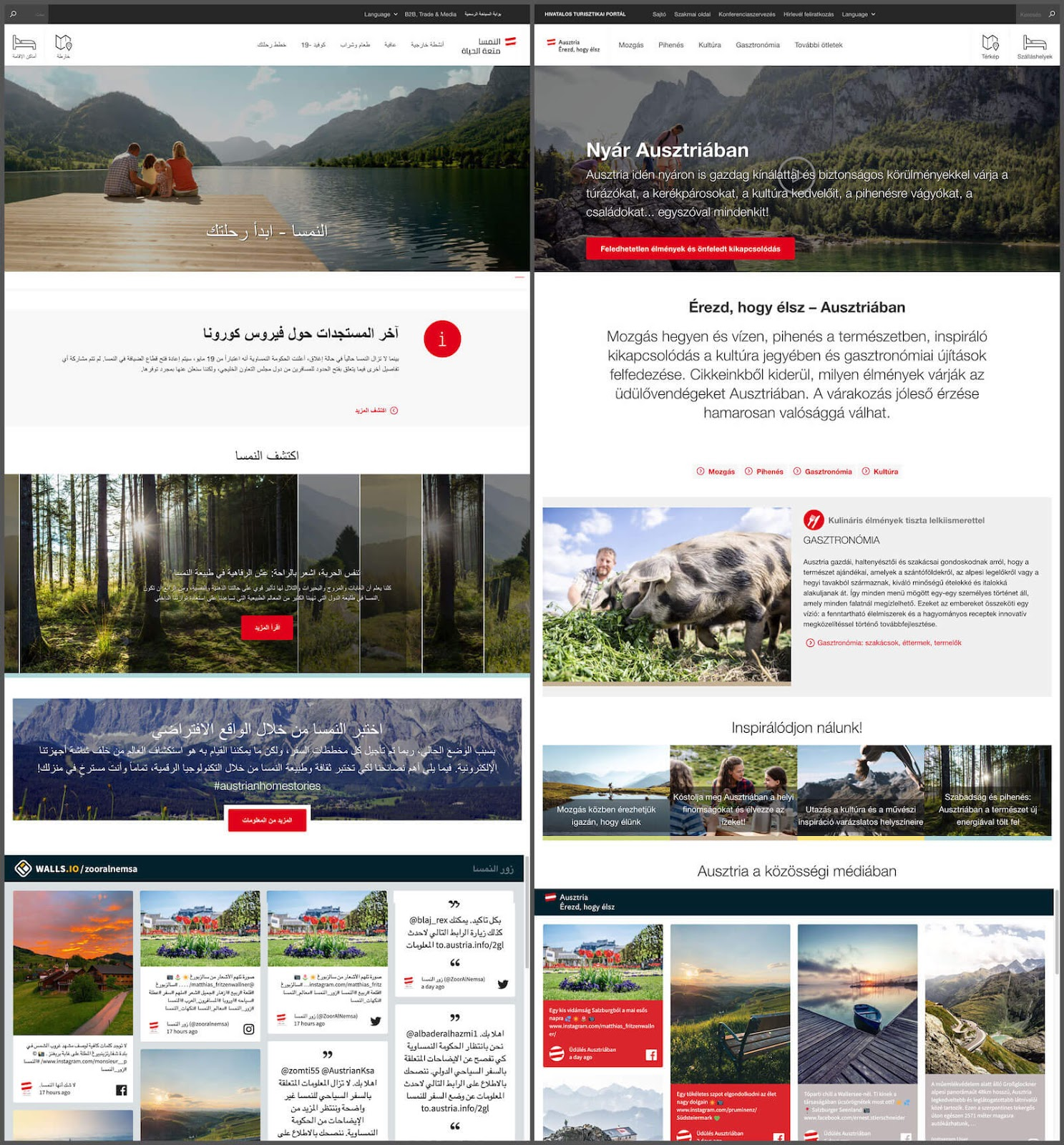 Screenshot of two social media walls by the Austrian National Tourist Office in two languages. On the left, is the website for the Arabic region. On the right, the Hungarian website.