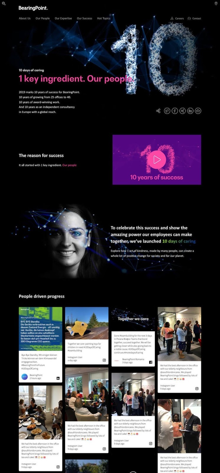 Screenshot of the BearingPoint 10 Days of Caring campaign microsite. It includes a promo image for the campaign, a video, and a social wall embedded at the bottom.