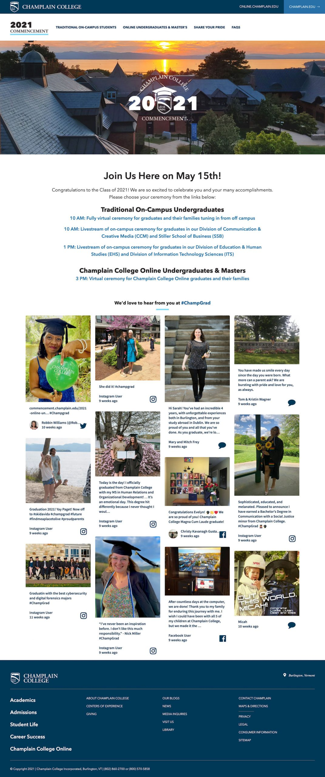 Screenshot of the Champlain College commencement microsite with information for graduates and the #ChampGrad social wall embedded.