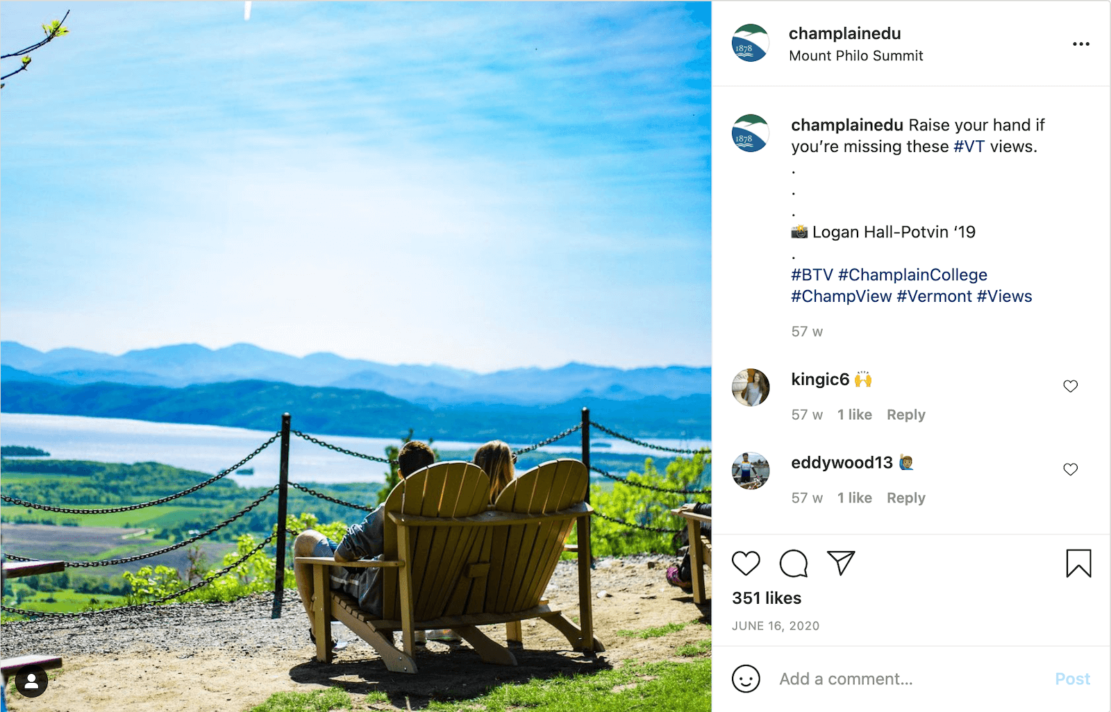 """Instagram post by champlainedu showing two people from the back as they're sitting on a bench and looking out over the beautiful Vermont landscape. The caption reads, """"Raise your hand if you're missing these #VT views."""""""