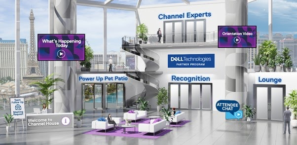 Virtual event venue designed as a lobby, from where one can access different virtual rooms and chats.