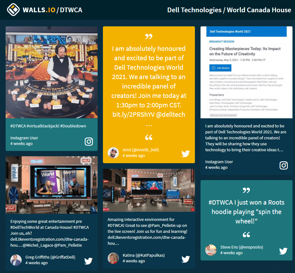 Social Wall representing posts with a #DTWCA hashtag from Instagram and Twitter.