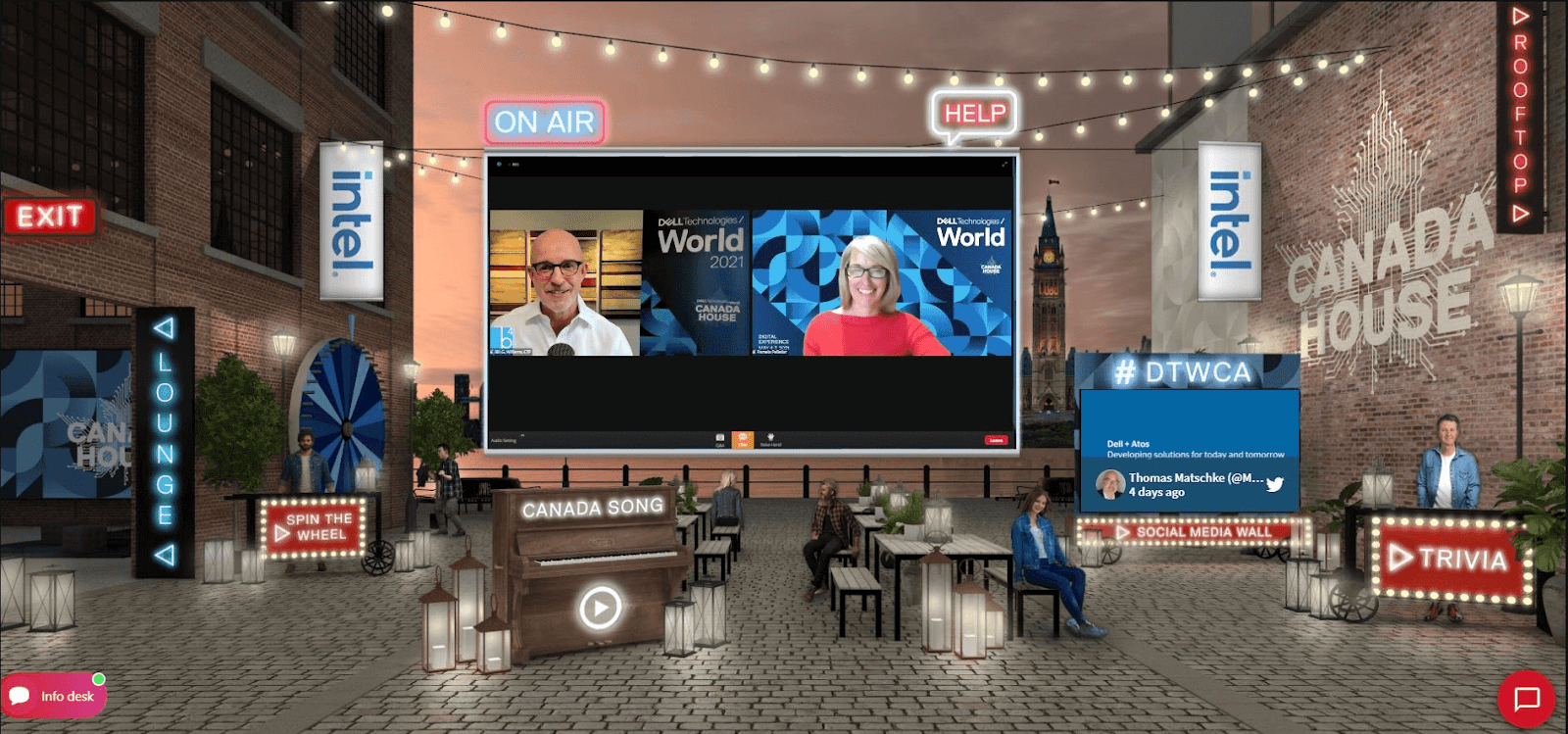 A screenshot of a virtual event venue with a live display in the center and a social wall display on the left.  A social wall shows a tweet with an event hashtag.