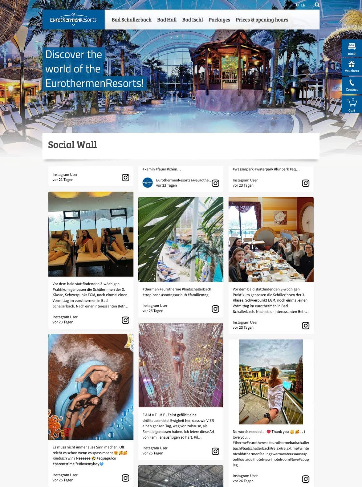 Screenshot of user-generated content examples from Eurotherme's social media wall. The image shows different photos from guests enjoying the facilities.