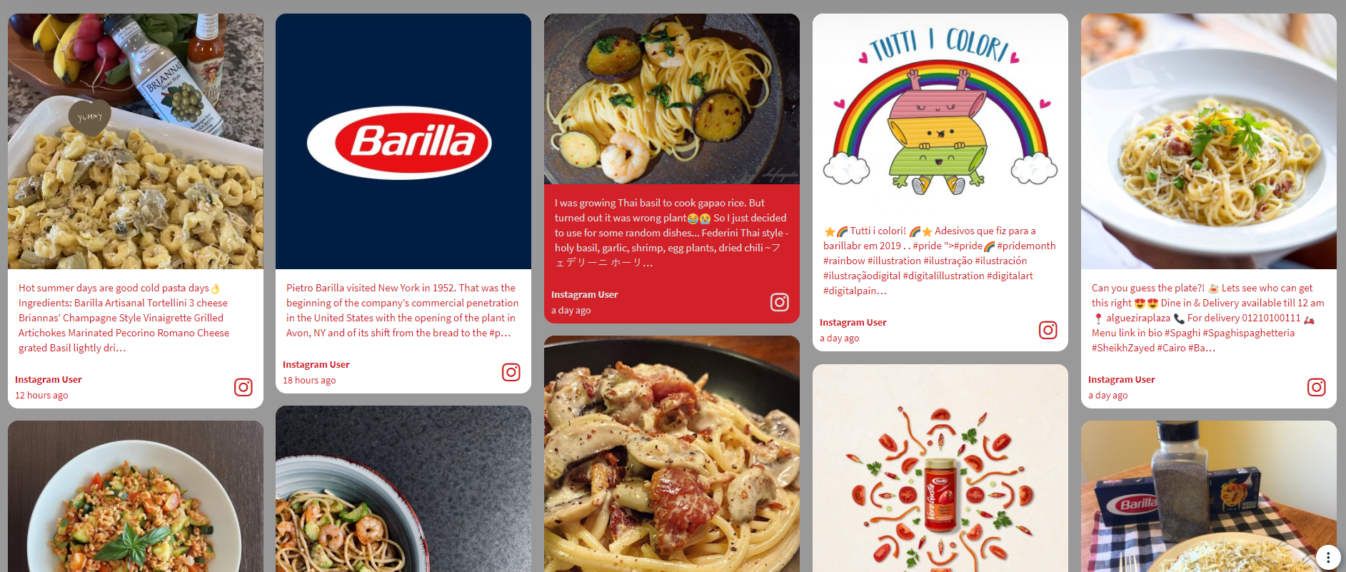A screenshot of a social wall collecting videos, photos and IGTV content tagged with #Barilla and #ASignOfLove.