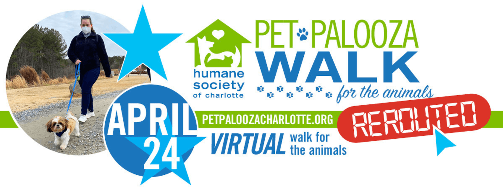 Screenshot of the website header of the Pet Palooza Rerouted microsite, which informs people of the date of the event.