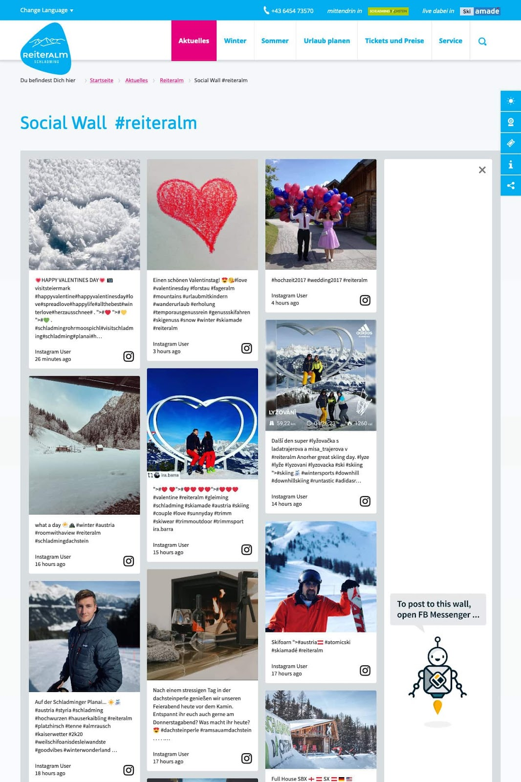 Screenshot of ReiterALM's social media wall. The image shows photos from guests skiing, doing outdoor and indoor activities.
