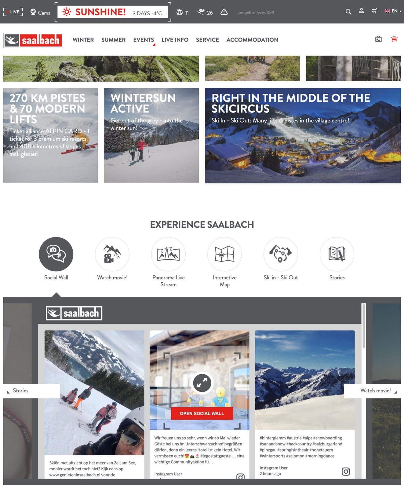 Screenshot of the social wall embedded on the English-language version of the Saalbach.com website.