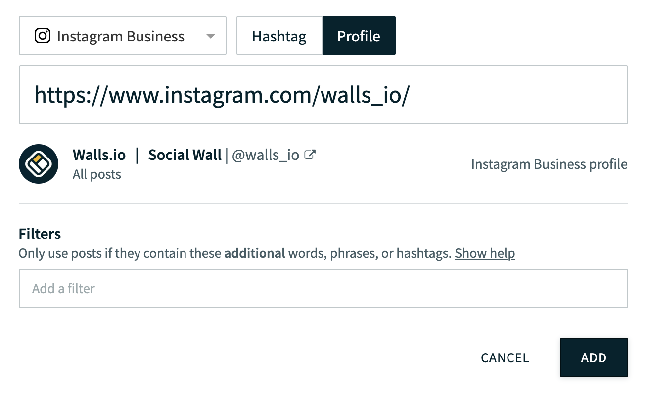 embed your Instagram feed on your website instructions: this image shows a text box to enter Instagram name and then click on add button.